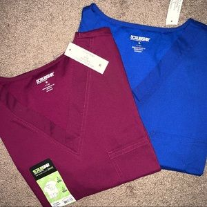 Two unisex scrub tops